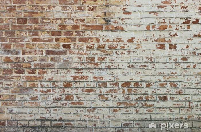 Naklejka Pixerstick Tło starego rocznika brudne ściany z cegły z peelingiem gipsu - Tematy