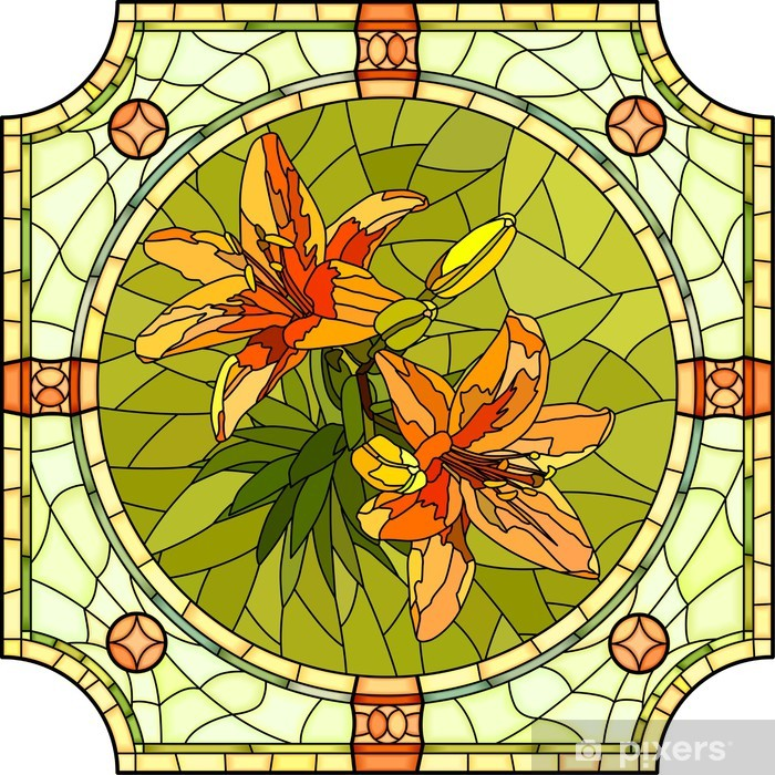 Naklejka Pixerstick Ilustracji wektorowych kwiat lilii pomarańczowych. - Kwiaty