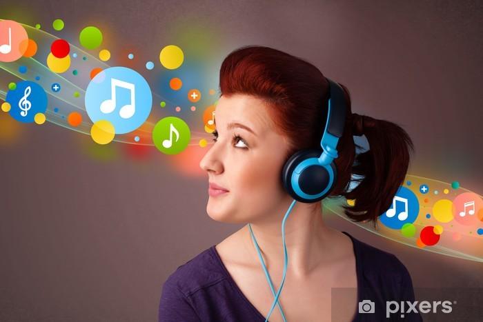 Carta da Parati in Vinile Giovane donna che ascolta la musica con le cuffie 2f7aa74afd12