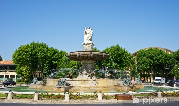 Naklejka Pixerstick Fontanna rotunda w Aix-en-Provence, Francja - Europa