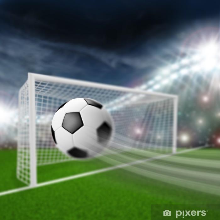 soccer ball flies into the goal Pixerstick Sticker - Sports Items