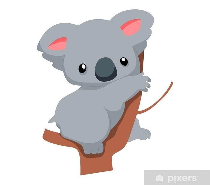 Vinyl-Fototapete Cute Baby-Koala-Cartoon - Vögel