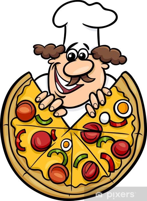 Carta da Parati in Vinile Lo chef italiano con l illustrazione della pizza  cartone animato 6d8b4a1064c7