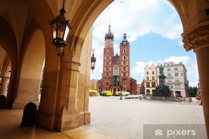 Vinylová fototapeta Saint Mary Bazilika a Rynek Glowny v Krakově - Vinylová fototapeta