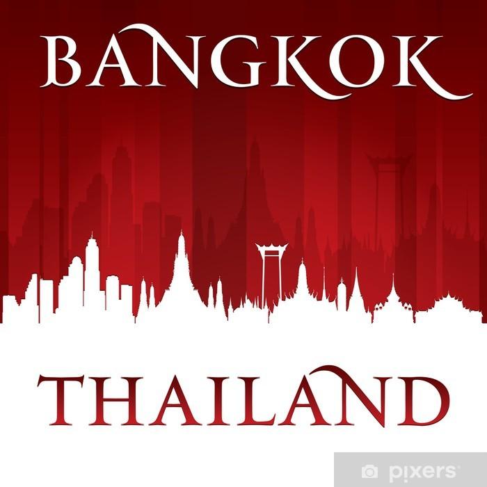 Plakat Bangkok miasta skyline sylwetka czerwonym tle - Azja