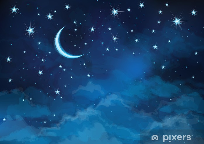 Vector night sky background stars and moon. Vinyl Wall Mural - Themes