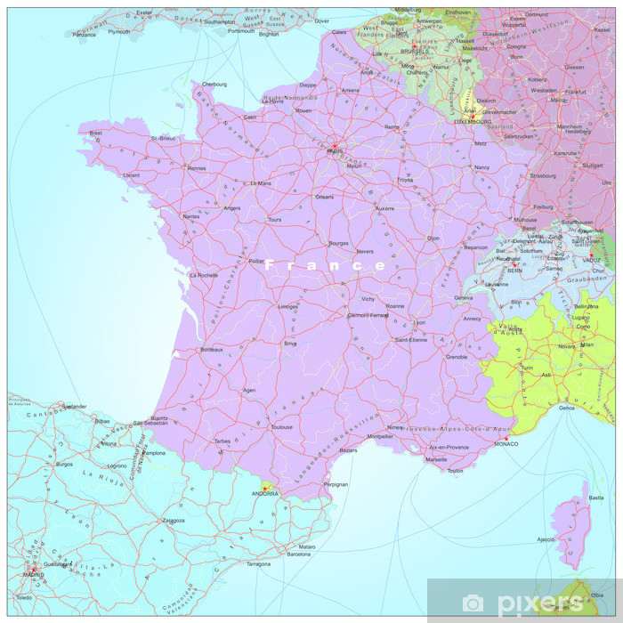 Map Of France Poster.Road And Administrative Map Of France Poster