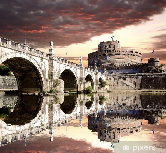 Fototapeta winylowa Anioł Zamek z mostu w Rzymie, Włochy - Tematy