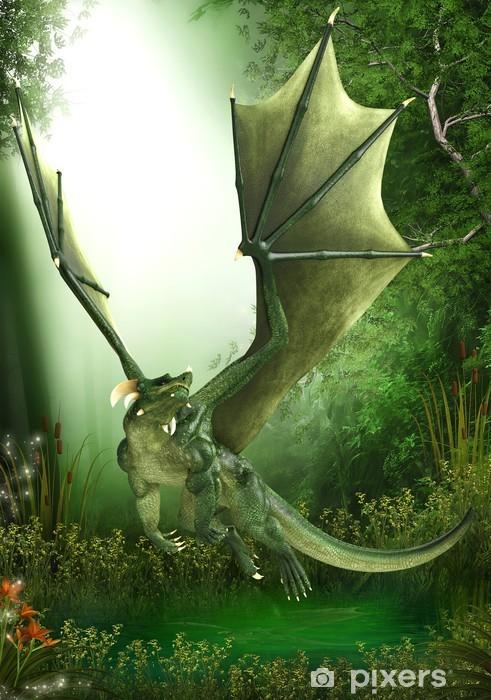 Papier peint vinyle Dragon vert volant juste - Dinosaures