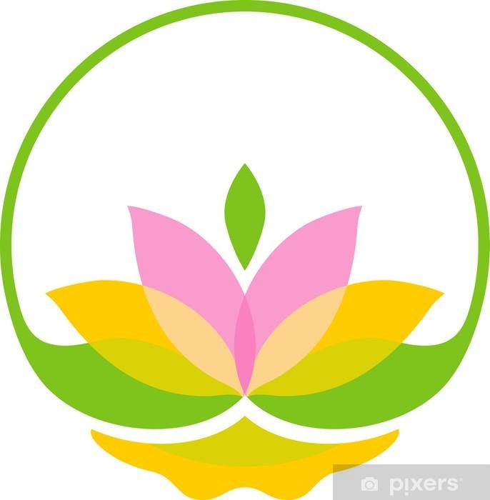Papier peint vinyle Symbole de lotus lumineux - Fleurs