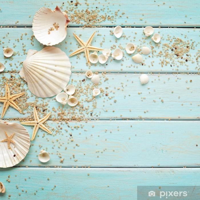 Vinyl Fotobehang Zeeschelpen frame op houten achtergrond. nautische grens - Vakantie