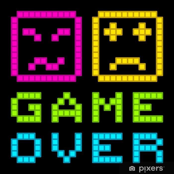 8-Bit Pixel-Art Retro Arcade Game Over Message  EPS8 Vector Sticker -  Pixerstick