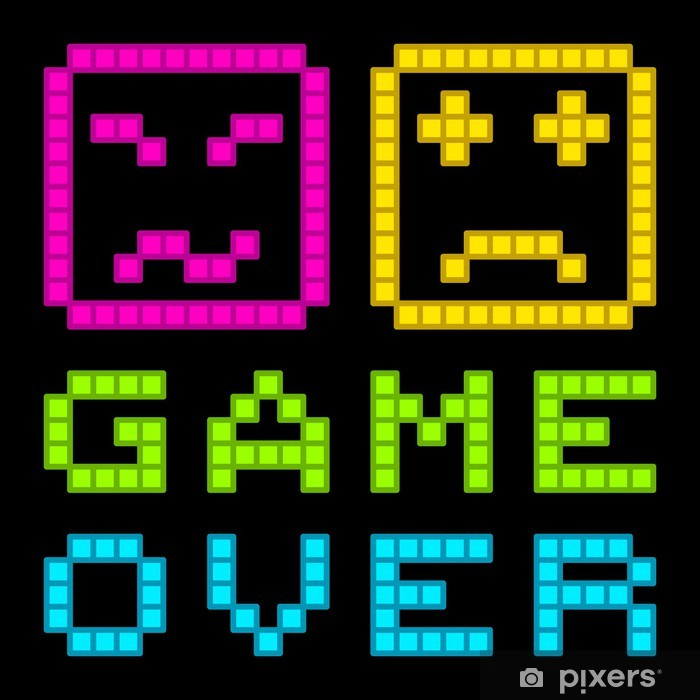 8-Bit Pixel-Art Retro Arcade Game Over Message. EPS8