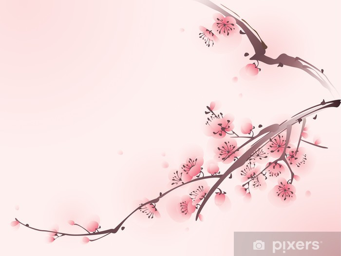 Fototapeta winylowa Malarstwo styl orientalny, kwiat wiśni wiosną - Tematy