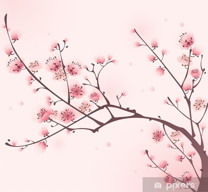Oriental style painting, cherry blossom in spring Vinyl Wall Mural - Styles