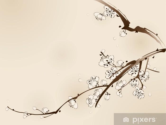 Pixerstick Aufkleber Plum Blüte mit Line-Design - Blumen