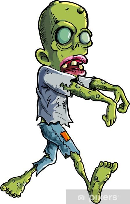 Carta da Parati in Vinile Inseguimento del fumetto zombie atto strappato i vestiti - Temi