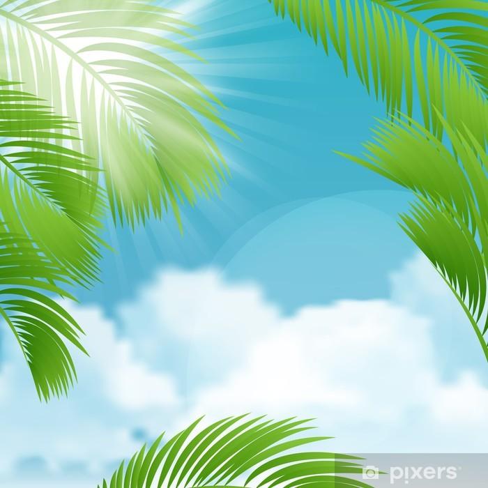 Naklejka Pixerstick Piękny widok na słoneczny dzień z liści palmowych. - Wyspy