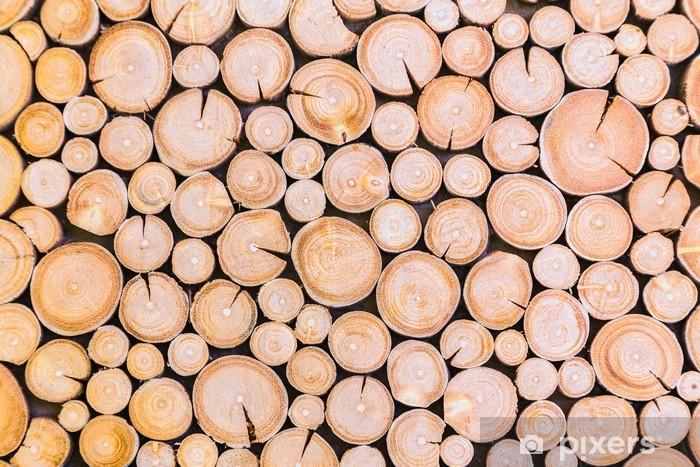 Sticker Houtblokken Achtergrond Pixerstick
