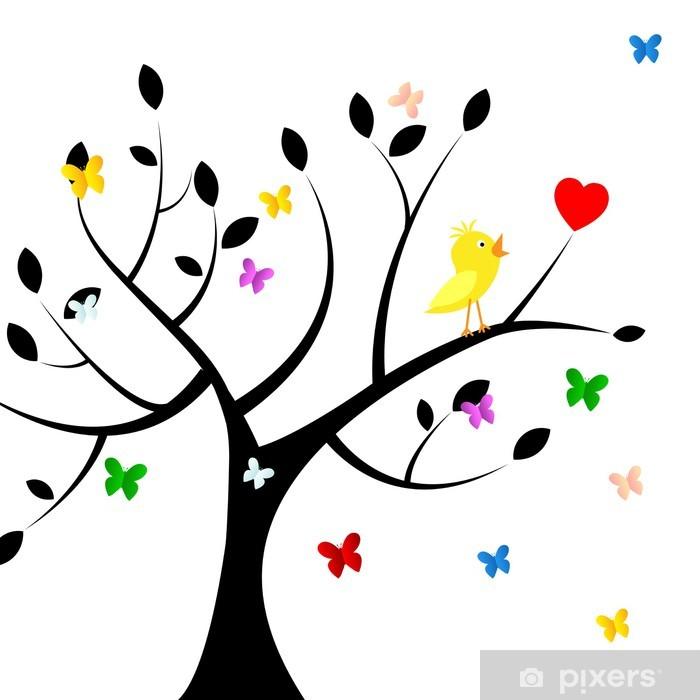 Vinilo Pixerstick Indica pájaros Árbol en forma de corazón y Medio Ambiente - Señales y símbolos