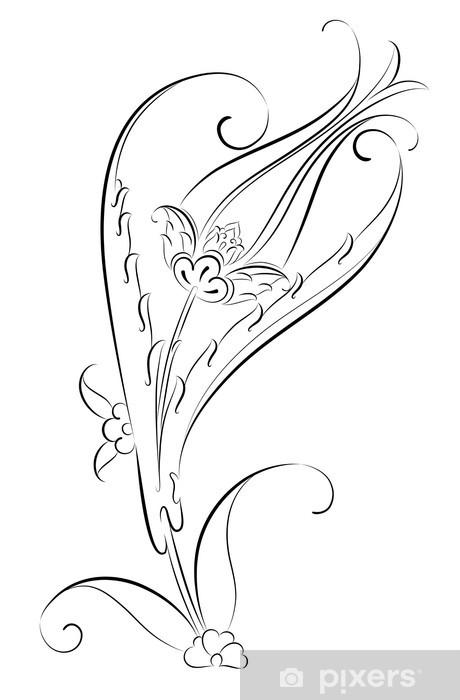 Vektörel çini Motifi Lale Deseni çizimi Duvar Resmi Pixers