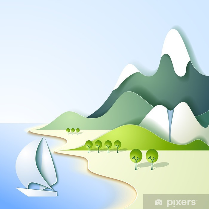 Paper mountain landscape Pixerstick Sticker - Backgrounds