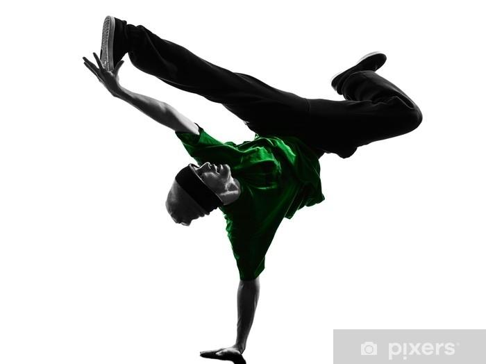 young acrobatic break dancer breakdancing man silhouette Wall Mural - Vinyl