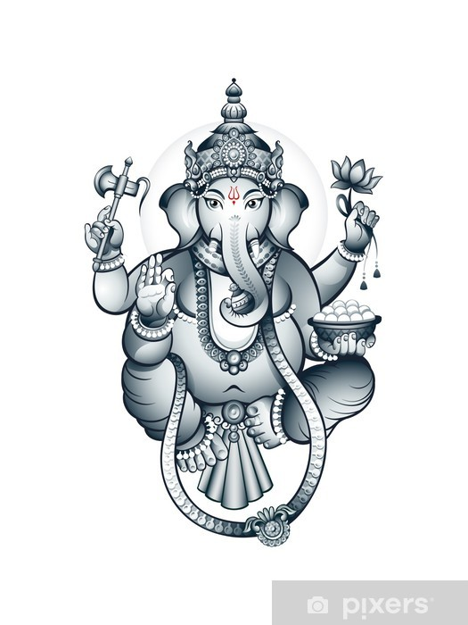Fototapeta winylowa Słoń indyjski głowy Boga Ganeśa - Style
