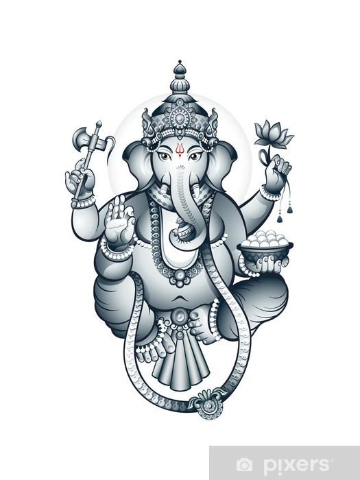 Papier peint vinyle Indien tête d'éléphant Dieu Ganesha - Styles