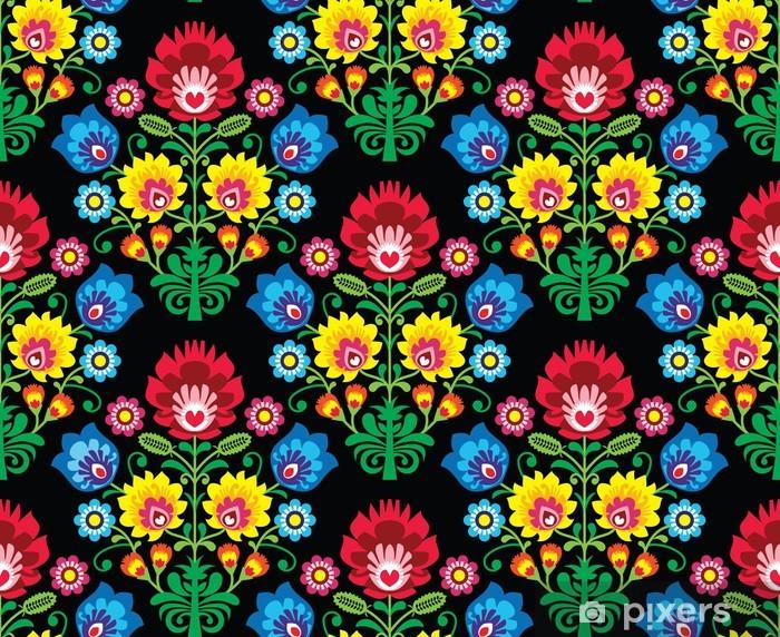 Seamless Polish folk art floral pattern - wzory lowickie Pixerstick Sticker - Styles