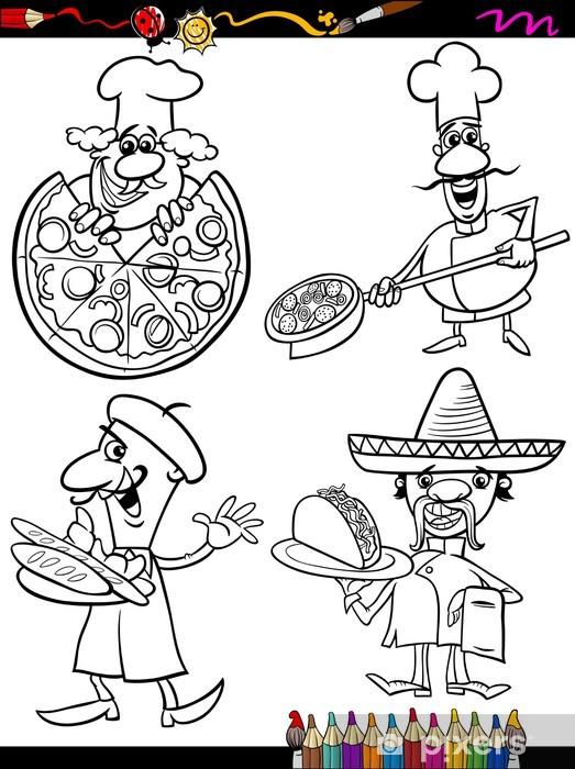 Aşçı şefleri Set Karikatür Boyama Kitabı Duvar Resmi Pixers