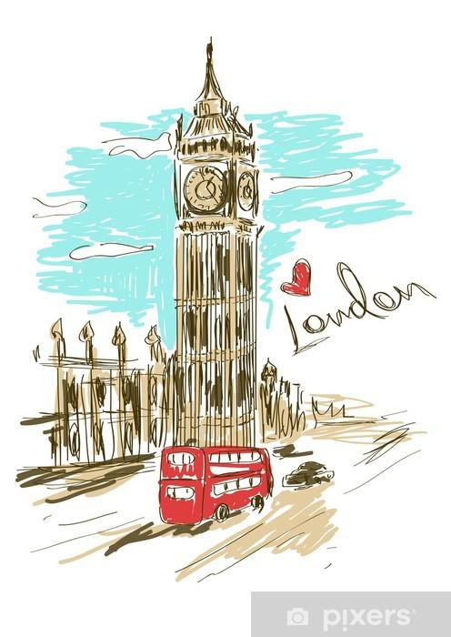 Fototapeta winylowa Szkic Ilustracja Big Ben wieży - Tematy