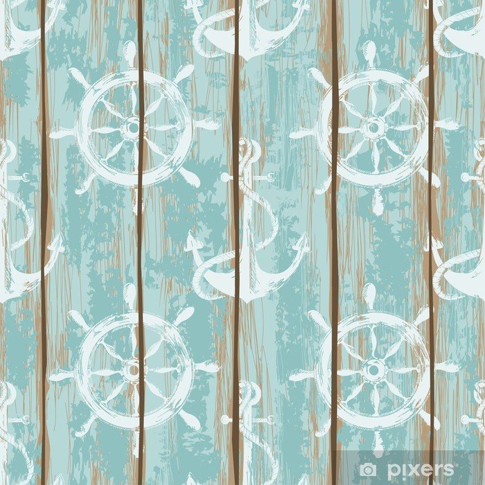 Boards of ship deck seamless pattern Vinyl Wall Mural - Themes