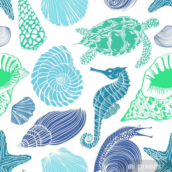 Carta da Parati in Vinile Seamless pattern di animali marini - Animali