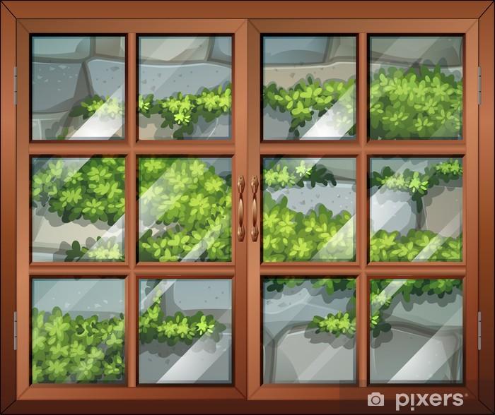 fototapete ein geschlossenes fenster mit blick auf die pflanzen und die steinmauer pixers. Black Bedroom Furniture Sets. Home Design Ideas