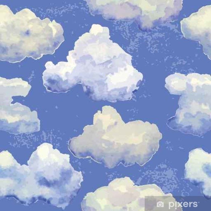 Fototapeta zmywalna Wektor bez szwu z akwareli niebieskie chmury - Zasoby graficzne