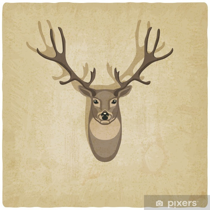 Fotomural Lavable Ciervos fondo antiguo - Señales y símbolos