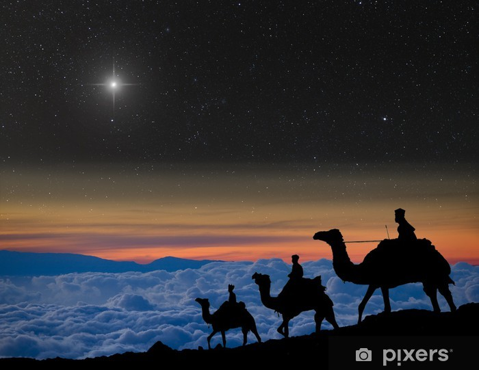 the 3 wise men follow christmas star over the mountains