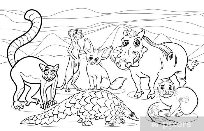 Carta Da Parati Animali Africani Da Colorare Cartone Animato
