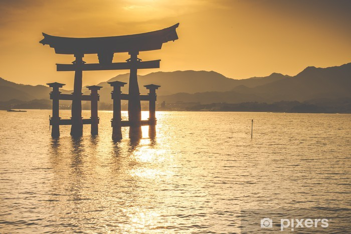 Pixerstick Aufkleber The Floating-Gate in Miyajima Otorii, Japan. - Themen
