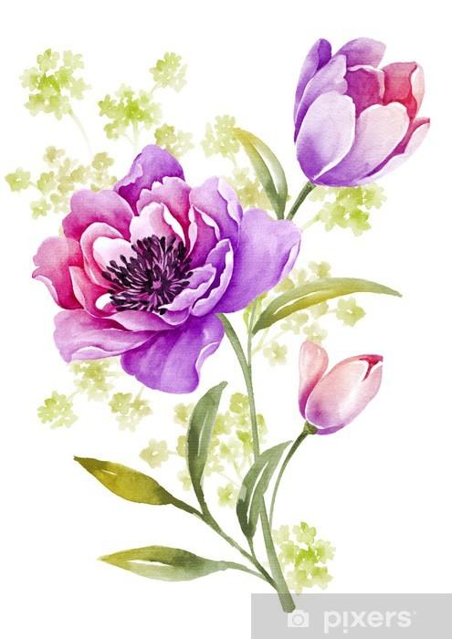 Papier Peint Fleurs Aquarelle D Illustration En Arriere Plan Simple