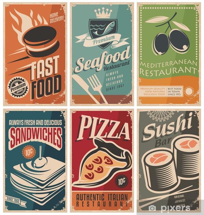 Fototapeta winylowa Vintage kolekcja plakatów żywności i restauracje - Sprzedaż