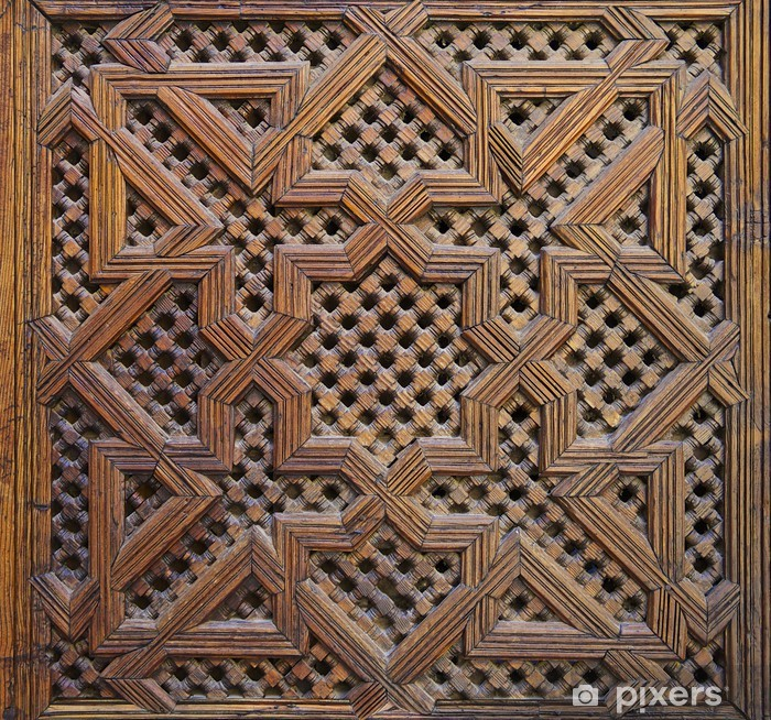 Kaststicker Marokkaanse Cederhout Arabesque Carving - Afrika