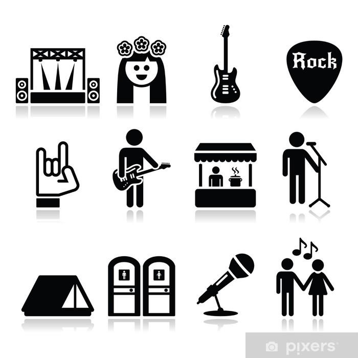 Fototapeta winylowa Festiwal muzyczny, koncert na żywo zestaw ikon wektorowych - Rozrywka