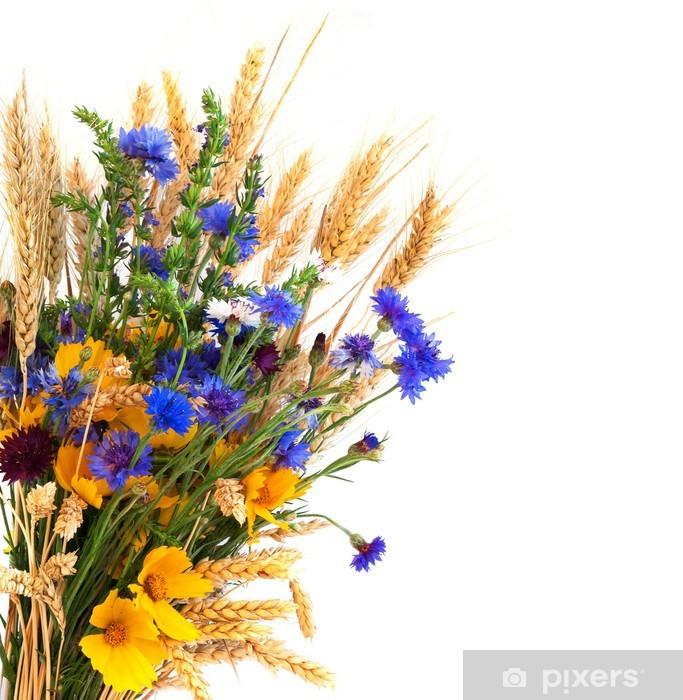 Sticker Pixerstick Bouquet des oreilles et champ de fleurs isolé sur fond blanc - Graines