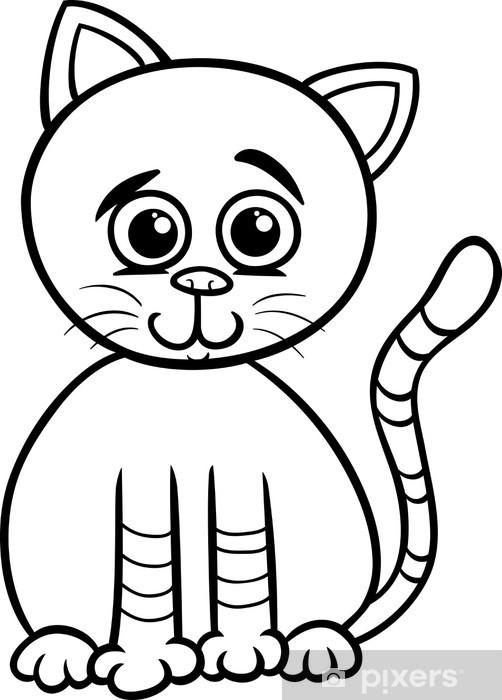 Sevimli Kedi Karikatur Boyama Kendinden Yapiskanli Duvar Resmi