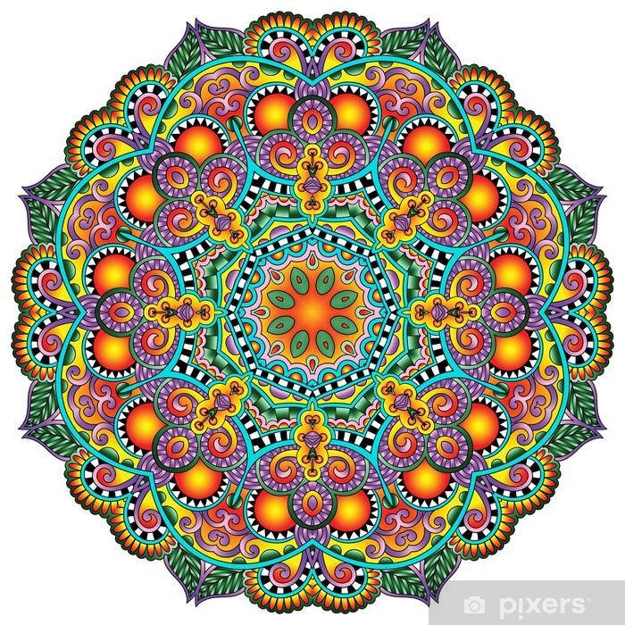 Plakat w ramie Ornament koronki koło, okrągły wzór dekoracyjny geometryczny serwetka - Style