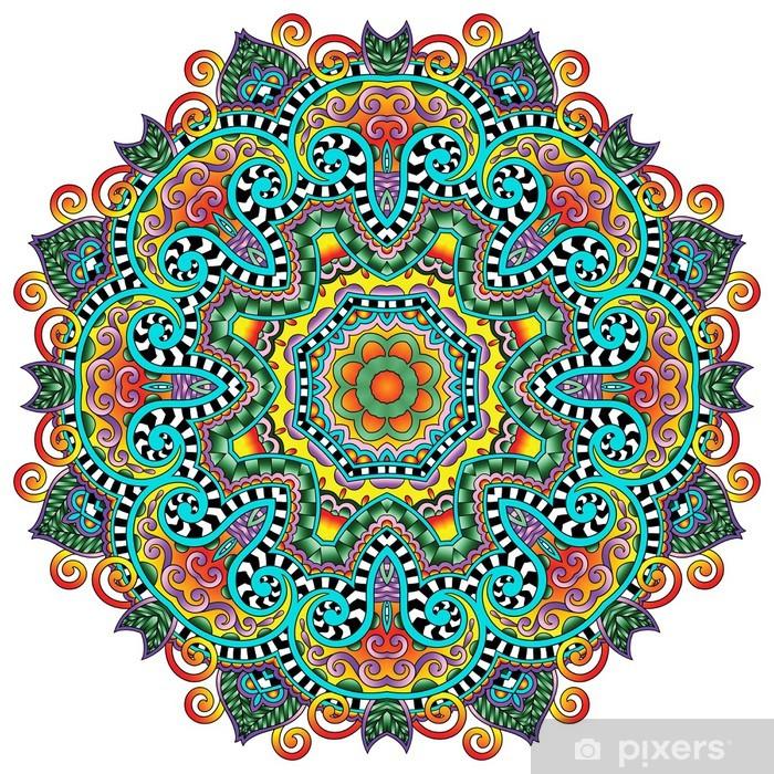 Poster Cirkel kant ornament, ronde sier geometrisch patroon kleedje - Muursticker