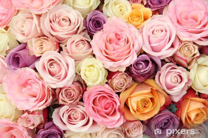 Sticker Pixerstick Roses de mariage pastel - Thèmes