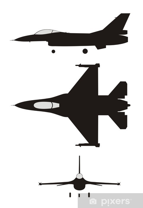 Silhouette Illustration Of Jet Fighter F 16 Wall Mural Pixers We Live To Change